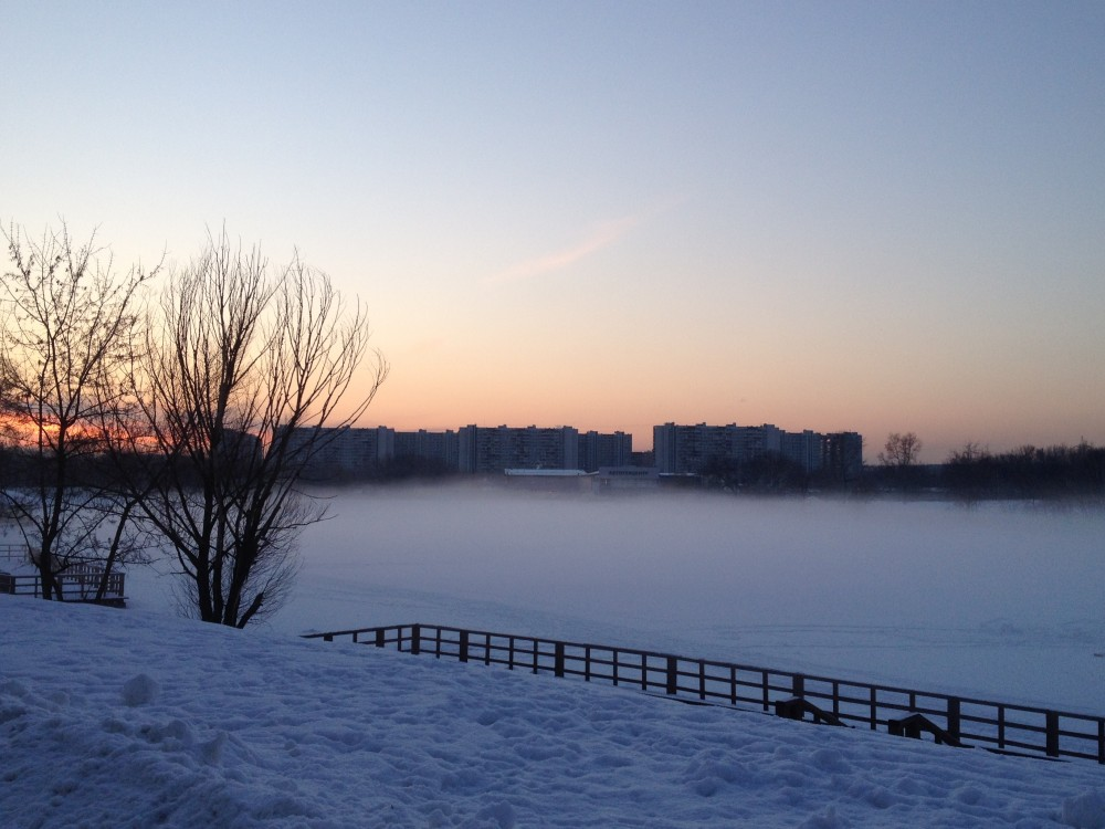 Moscow. Frosty evening mist