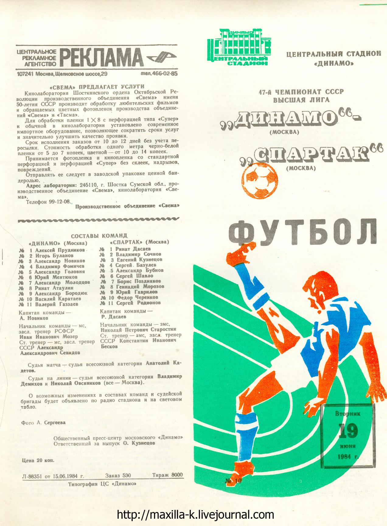 Динамо - Спартак