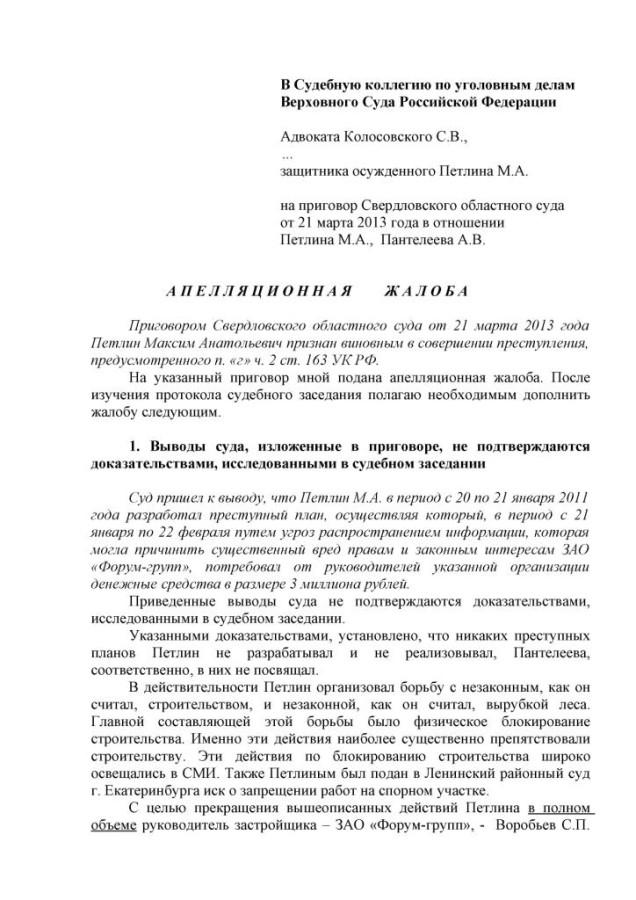 апелляция на приговор суда по уголовному делу образец