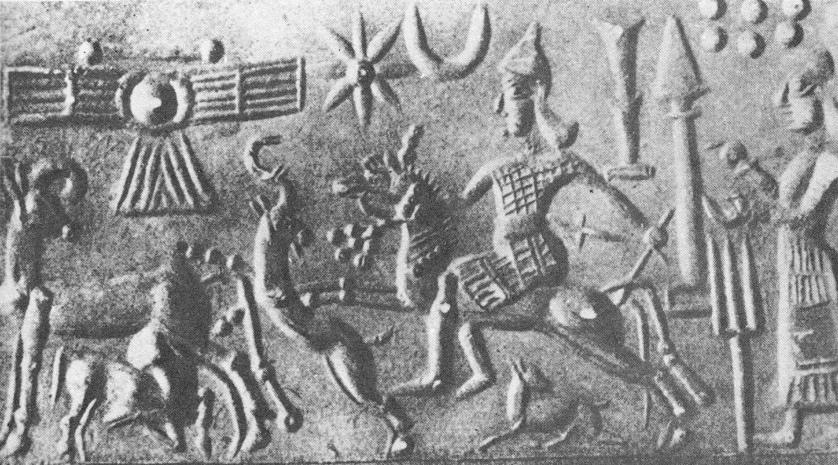 winged sky-disc above Goddess of War Inanna riding horse & Ninhursag.jpg