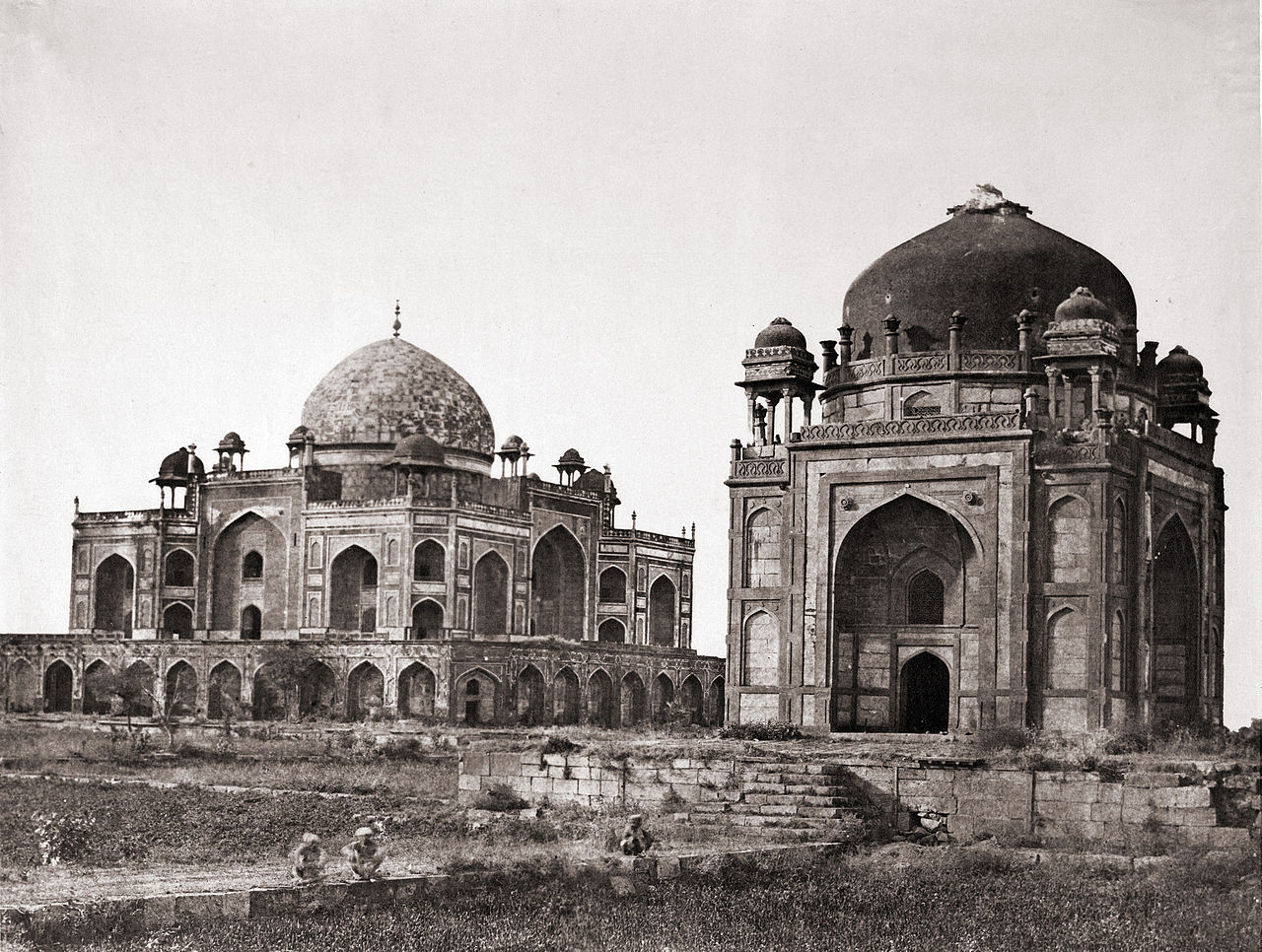 1280px-Humayun's_Tomb,_with_the_Barber's_Tomb_in_the_foreground,_Delhi,_1858_photograph.jpg