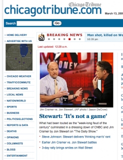 Cramer vs. Stewart, Chicago Tribune, Screen Shot