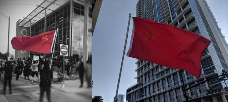 Красный флаг СССР поднят в США
