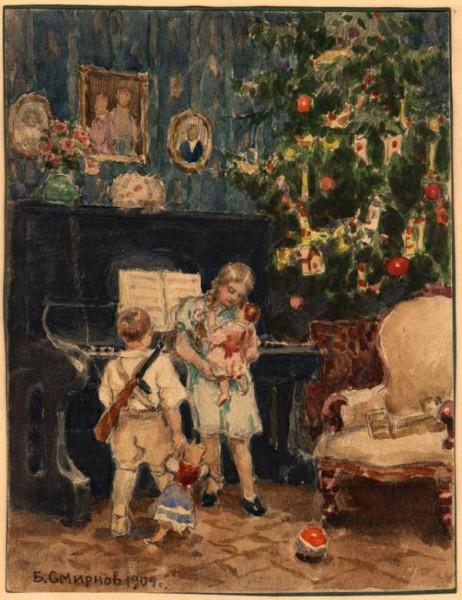 Б.Смирнов Рождественская ёлка в богатом доме