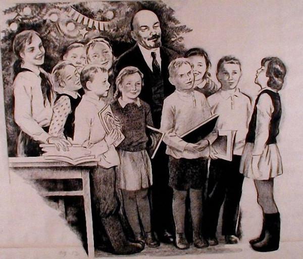 Валериан Щеглов. Ленин и дети. 1953 г.