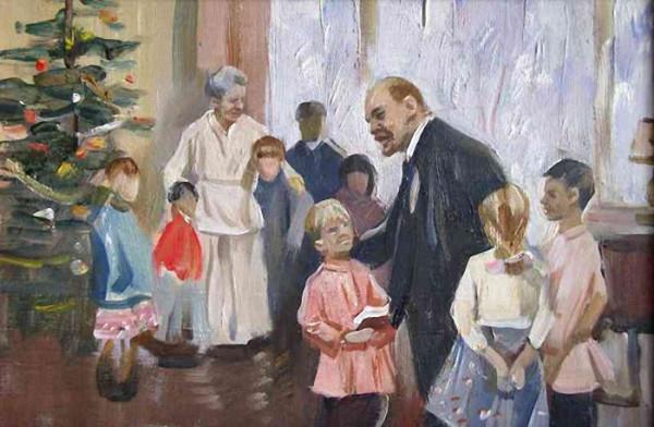 Игорь Раздрогин. Ленин на ёлке (этюд). 1962
