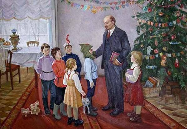 Неизвестный художник. В.И.Ленин на ёлке в Сокольниках.