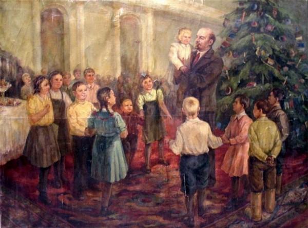Неизвестный художник. Ленин с детьми на елке