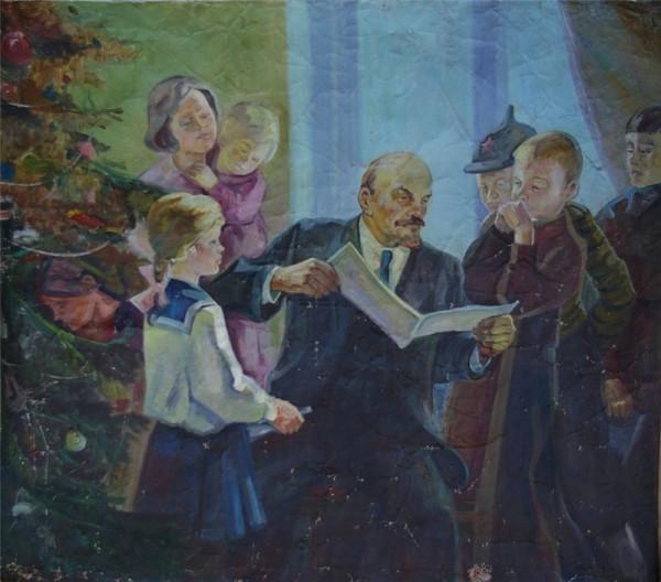 Неизвестный художник. Ленин с детьми на елке.