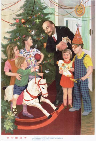 Китайский рисунок на тему Ленин на ёлке