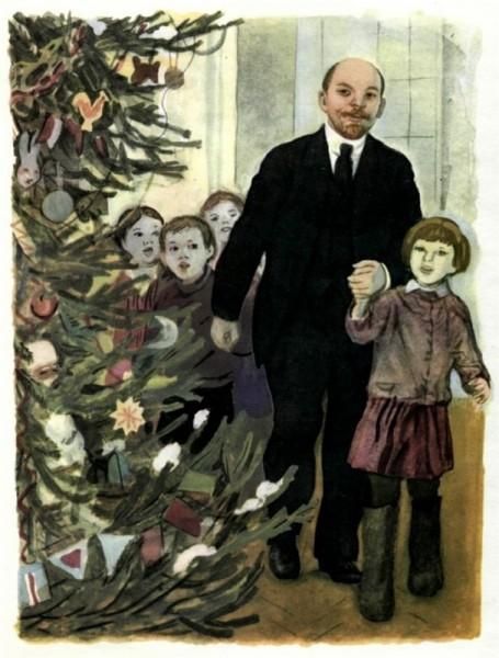 Неизвестный художник. В.И.Ленин на ёлке.