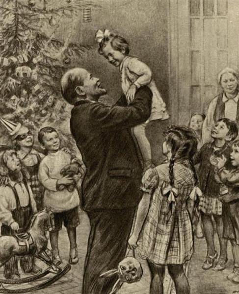 Николай Жуков. Ленин и Крупская на елке в Сокольниках