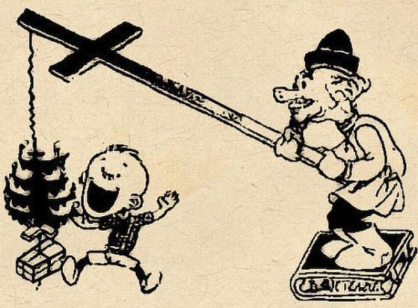 Ёлка приманка для простачков Карикатура 1930 года.