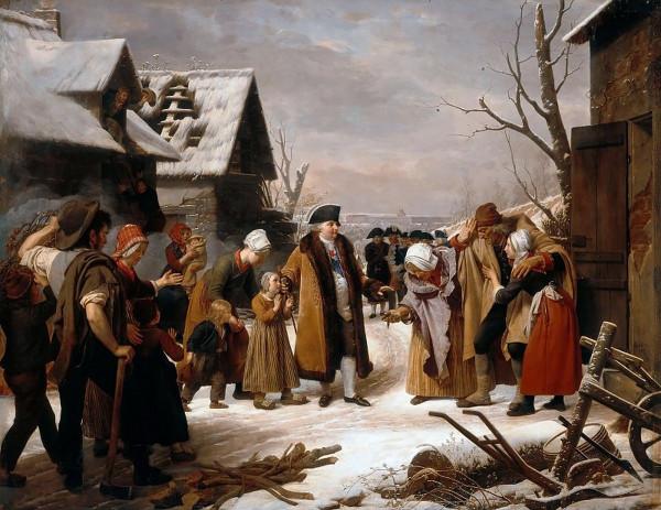 Луи Эрсан  Людовик XVI, раздающий милостыню крестьянам Версаля зимой 1788 года