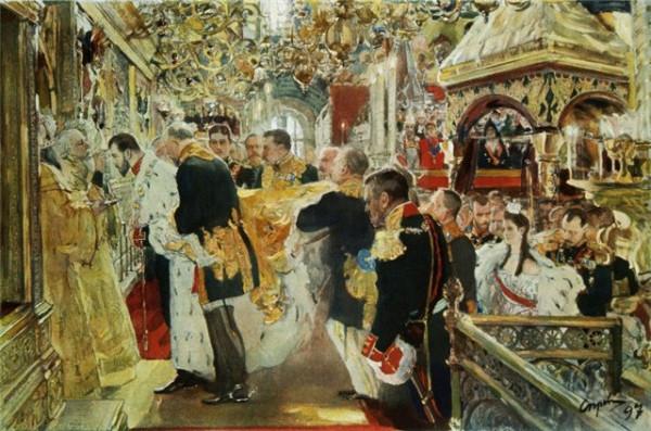 Серов В.А. Коронация. Миропомазание Николая II в Успенском соборе.