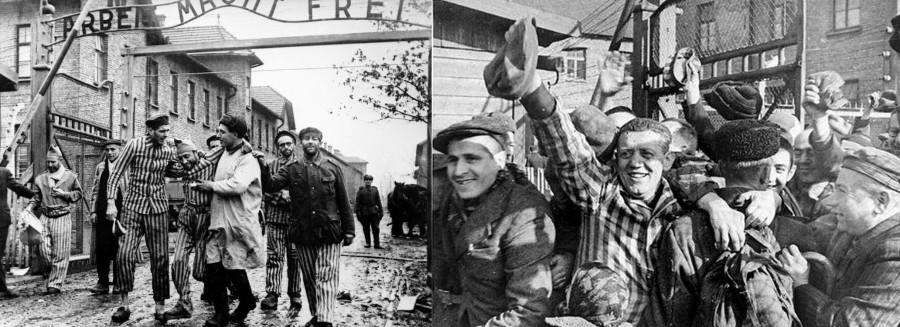 Освобождение концлагеря Освенцим Польша. 1945 год.