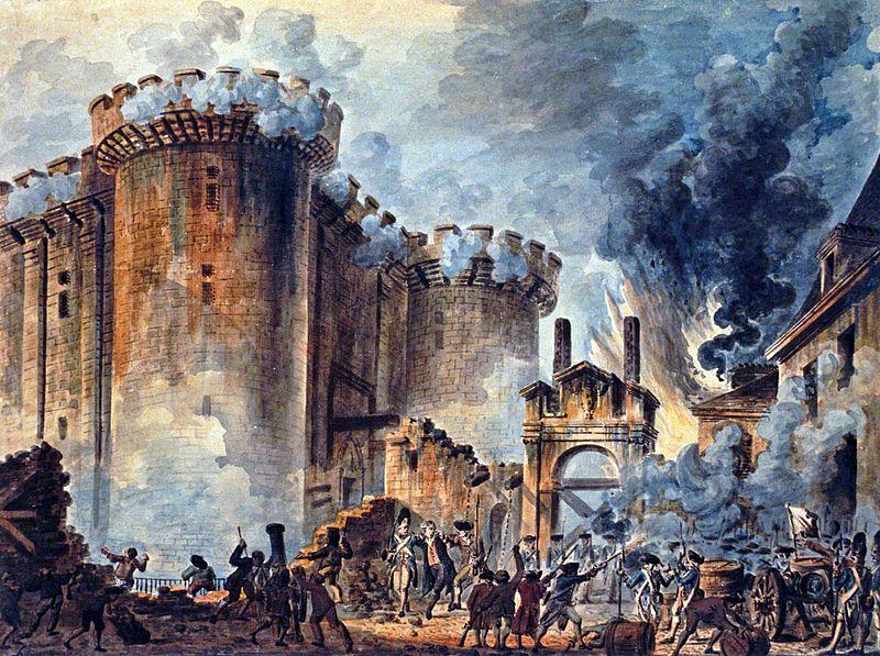 Взятие Бастилии 14 июля 1789 художника Жан-Пьера Уэля Jean-Pierre Houël_ Prise_de_la_Bastille
