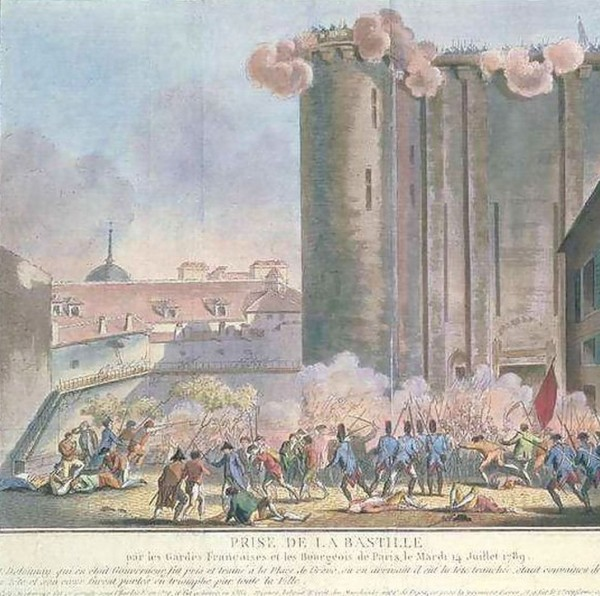 The storming of the Bastille by the French Guard and by the people 14 July 1789. Color engraving after Jean-Francois Janinet (1752-1814).