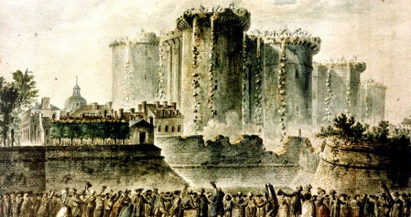 The beginning of the demolition of the Bastille, 16 July 1789. Contemporary watercolor by Jean Pierre Louis Laurent Hoüel.