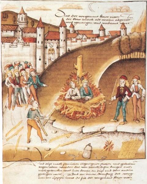 Сожжение рыцаря Гогенберга и его пажа за гомосексуальные отношения. Цюрих 1482 год