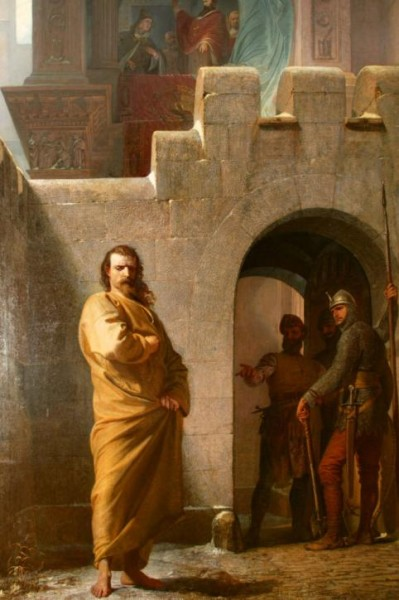 Генрих IV в одежде кающегося грешника у дверей папы
