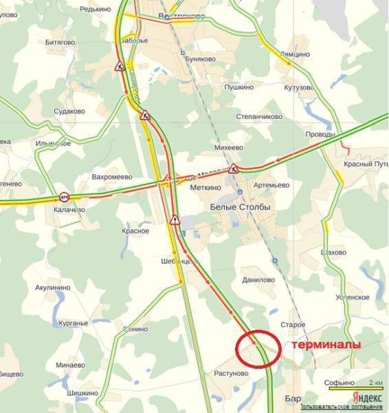 Пробки на трассе М4 Дон сейчас на карте Москвы
