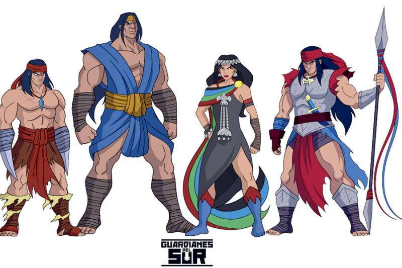 """Гальварино, Каопуликан и еще двое каких-то разнополых мапучи в роли персонажей местных комиксов """"Стражи Юга"""""""