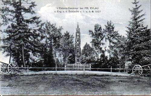Postkarte vom LEstocq - Denkmal bei Peussisch Eylau von ca. 1910