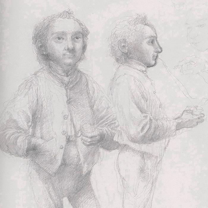 Bilbo Baggins, two views, by Alan Lee-DETAIL