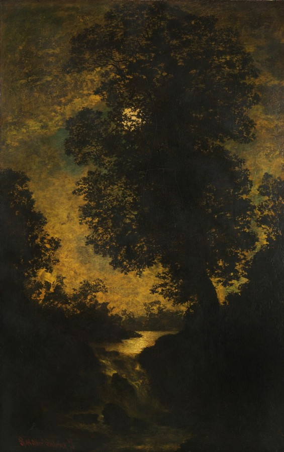 Waterfall, Moonlight, by Ralph Blakelock 1886