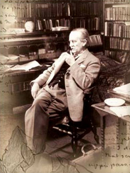 Tolkien seated smoking, photoshopped with handwriting surround