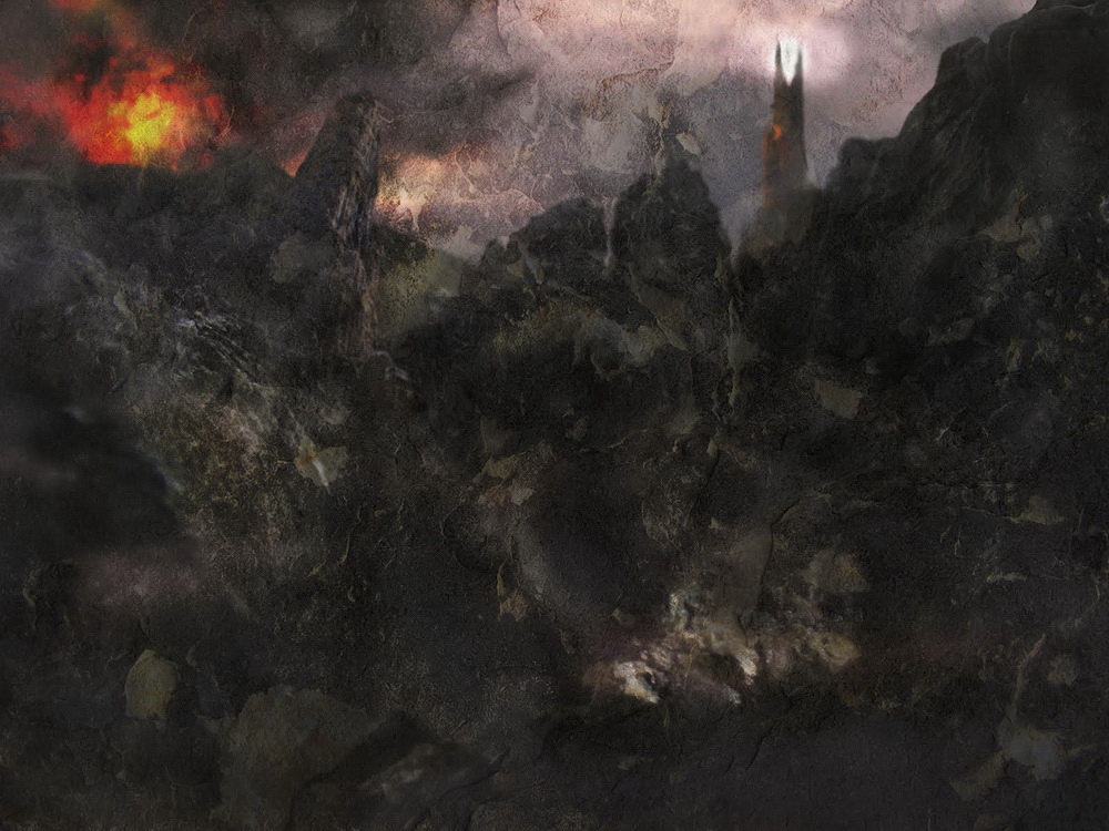Barad-dûr and Mt. Doom, variation 2, by John Cockshaw-1000 pixels wide