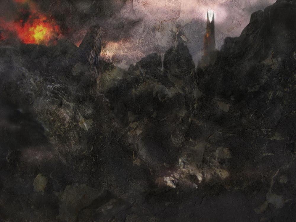 Barad-dûr and Mt. Doom, variation 2, by John Cockshaw-1000 pixels wide