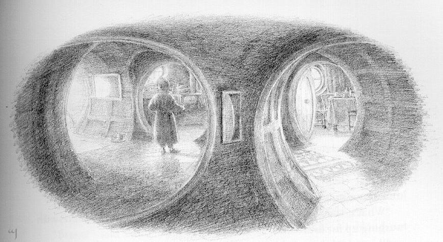 Bilbo at open door-FULL IMAGE