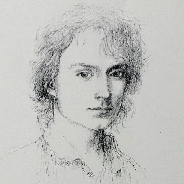 Frodo Baggins, portrait sketch by Alan Lee-CROPPED