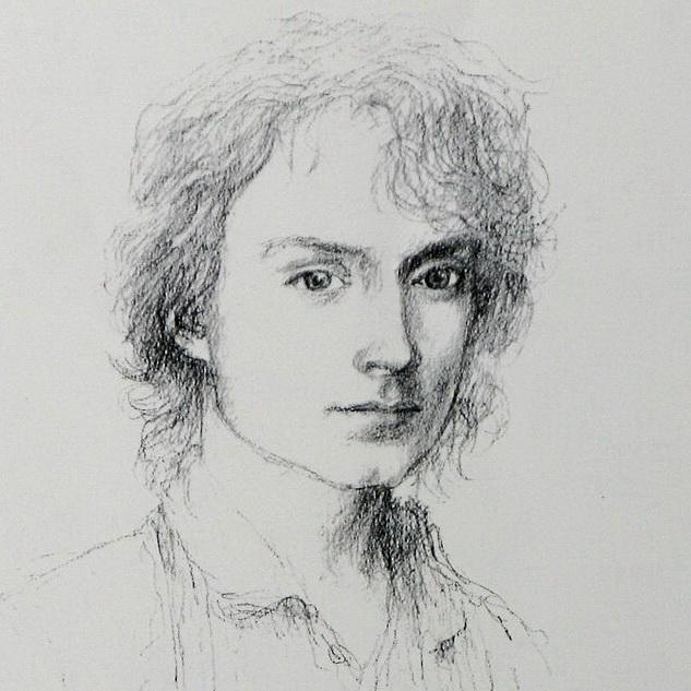 Frodo Baggins, portrait sketch by Alan Lee-CROPPED