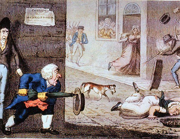 Карикатура 1826 года, на которой показан бешеный пес на улицах ЛондонаWikimedia Commons
