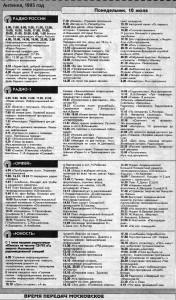 Программа радиопередач, 10 июля 1995 г.