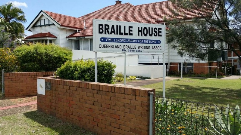 Braille House, free lending library, Queensland Braille Writing Association.