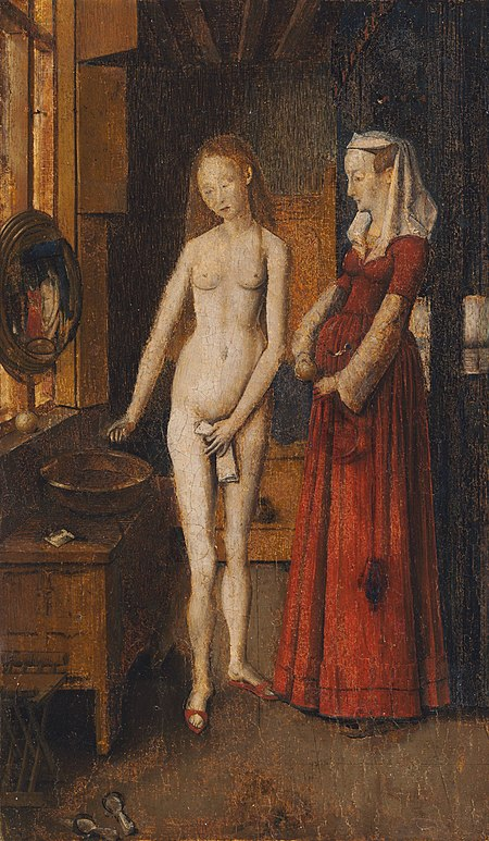 Woman at Her Toilet, early 16th-century copy by an unknown Netherlandish artist, 27.2 x 16.3 cm. Harvard Art Museums/Fogg Museum, MA. After Van Eyeck.