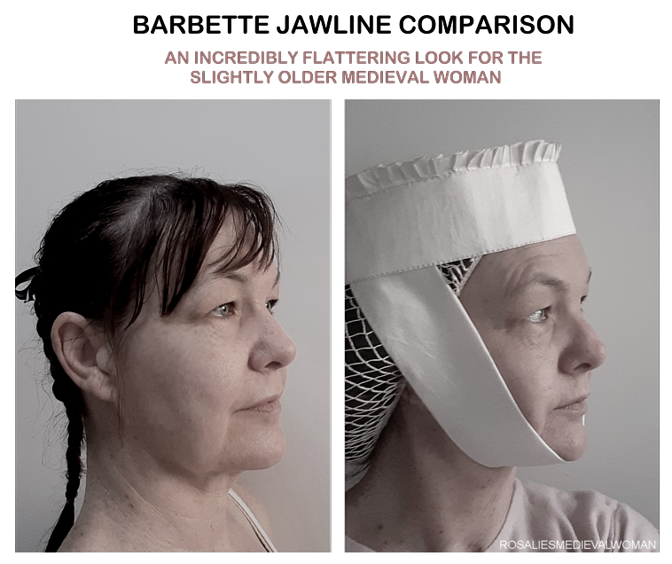Being a sexy medieval woman required wearing the right headwear. Why not start with a barbette-and-fillet?
