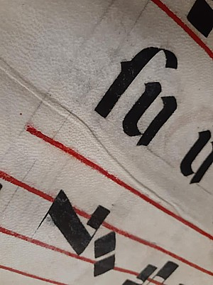 Antiphony parchment close up.