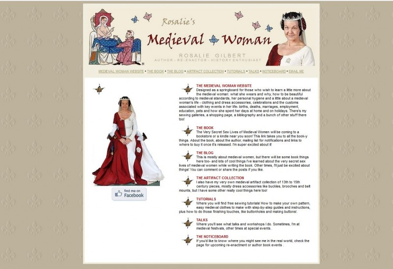 The new home page for Rosalie's Medieval Woman