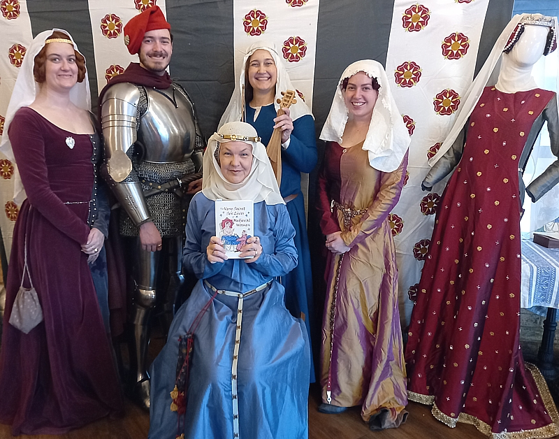 The Very Secret Sex Lives of Medieval Women author Rosalie Gilbert with medieval friends, Lauren Ball, Ben Marshall, Michelle Barton and Ellie Sommers.
