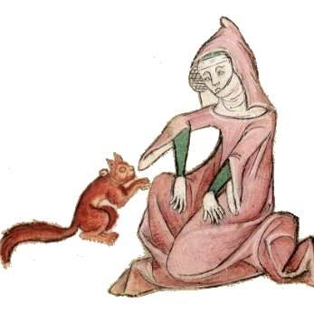 Luttrell Psalter, Lady with pet squirrel