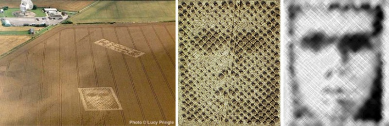 """14 и 20 августа 2001 года появились рисунки на пшеничном поле в Чилболтоне, графства Хемпшир, в Англии. Их назвали """"портрет"""" и """"двоичный код"""". Размер изображений: """"портрет"""" 55 х 49 метров (180 х 160 футов) и """"двоичный код"""" 26 х 61 метров (160 х 180 футов)"""