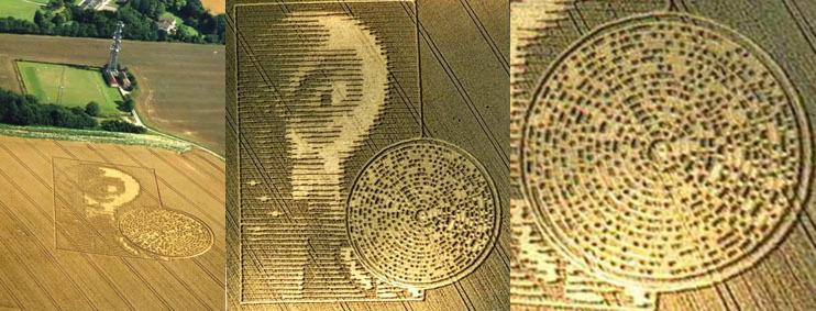 14 августа 2002 года на поле в Питт – Вин Винчестер графства Хемпшир, Англия, появилась пиктограмма с изображениями лица Серого гуманоида держащего в руке CD-диск, на котором двоичным кодом в виде нулей и единиц было зашифровано послание на английском языке. Изображение было длиной 360 футов (около 110 м) и шириной 250 футов (76.2 метра)