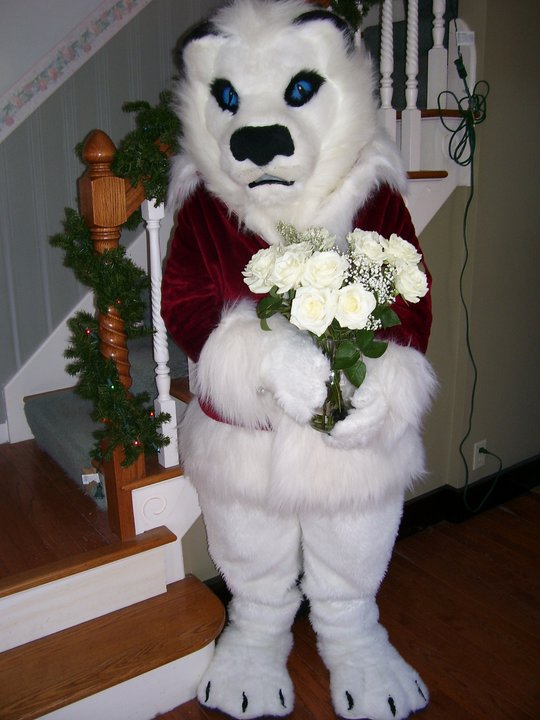 Fursuit-Santa Kimba With White Roses