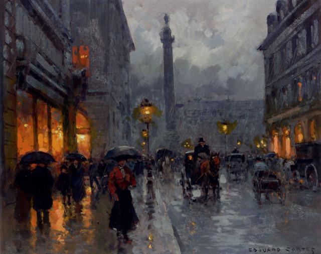 Place vendome in the rain. Edouard Leon Cortes