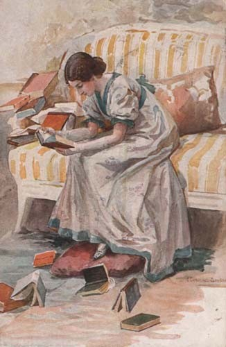 Татьяна разбирает книги Онегина